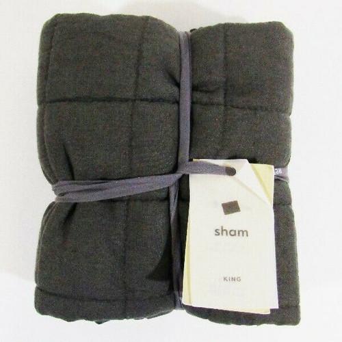 """West Elm Dark Gray Belgian Flax Linen King Pillow Sham NWT Sham Only 20"""" x 36"""""""