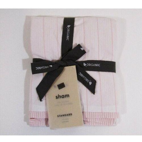 "West Elm Pink Washed Cotton Stripe Standard Pillow Sham NWT Sham Only 26"" x 20"""