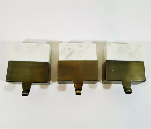 """Set of 3 CB2 White Marble Stocking Holders 5"""" x 5"""" x 2.5""""-  SEE DESCRIPTION"""