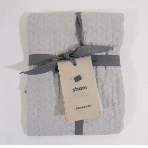 "West Elm Gray Cotton Diamond Crinkle Standard Pillow Sham NWT Sham Only 26""x20"""