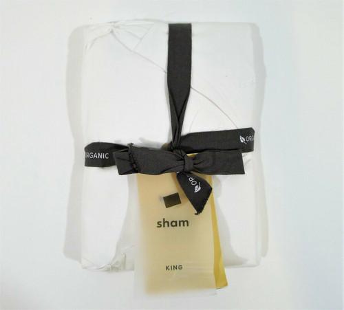 "West Elm White Organic Cotton Pintuck Duvet King Sham Only 36"" x 20"" NEW W/ TAGS"