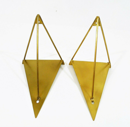Set of 2 West Elm Antique Brass Finish Prism Brackets - LIGHT SCRATCHES