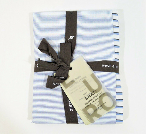 West Elm Blue/White Organic Washed Cotton Stripe Euro Sham Only- NEW WITH TAGS