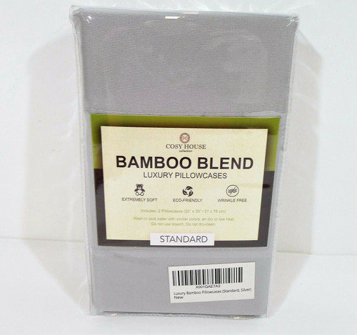 Set of 2 Cosy House Silver Bamboo Blend Luxury Standard Pillowcases - NEW SEALED