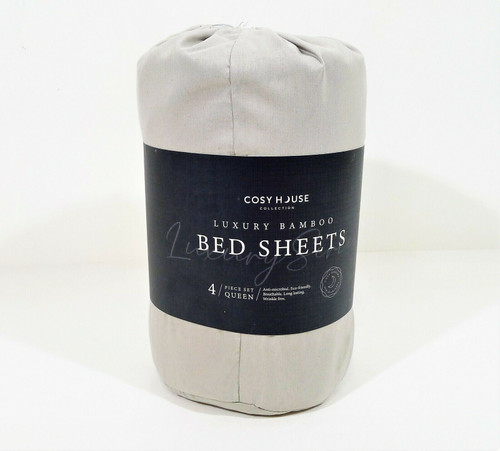 Cosy House Silver Luxury Bamboo 4 Piece Queen Bed Sheets - NEW