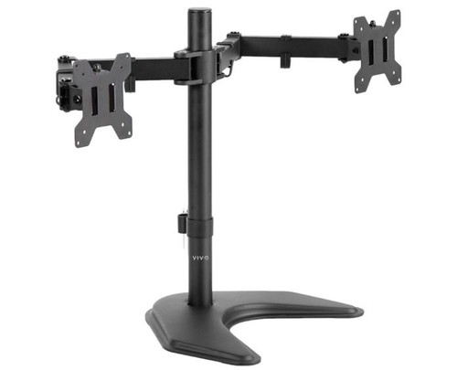 Vivo Stand-V002F Dual Monitor Free Standing Desk Mount Two Screens - OPEN BOX