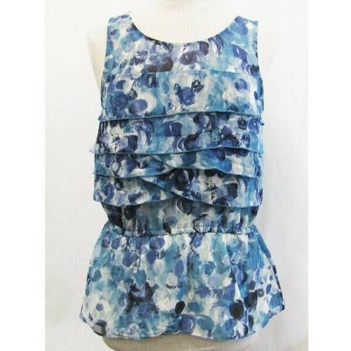 Lauren Conrad Blue Floral Sleeveless Women's Blouse Size M