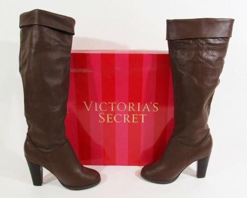 Colin Stuart by Victoria's Secret Brown Leather Knee High Boots Women's Size 7.5
