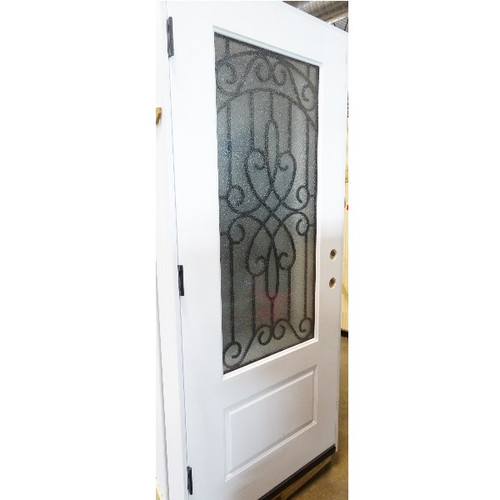 3/4 Lite Frosted Glass Decorated Window Door