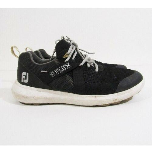 FootJoy Flex Black & White Spikeless Men's Golf Shoes Size 8W *No Insoles*