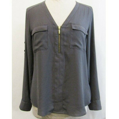 Express Gray Lightweight Adjustable Sleeve Women's Blouse Size M