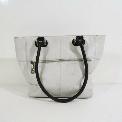 Tignanello White & Black Leather Women's Shoulder Bag 15x12x5 *Has Scuff Marks*