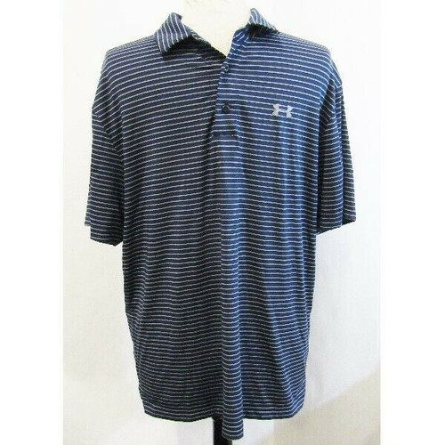 Under Armour Navy Blue & Gray Striped Loose Fit Men's Polo Size L