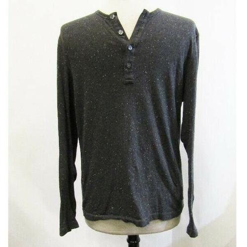 Michael Kors Speckled Gray Men's Long Sleeve Henley T-Shirt Size M