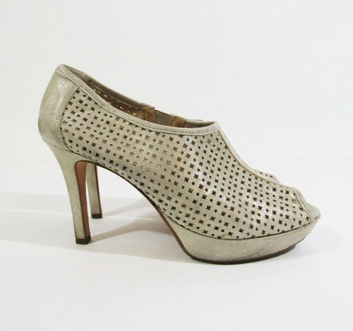 Paul Green Shimmery Tan Suede Women's Peep Toe Pumps Size 7