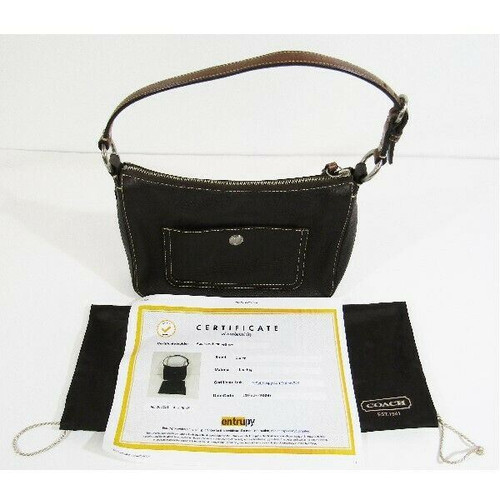 Coach Dark Brown Pebbled Leather Women's Hobo Purse w/ COA by Entrupy 11x8x4