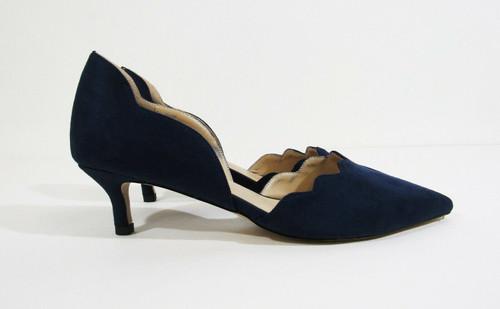 YDN Navy Blue Suede Women's Pointy Toe Kitten Pumps Size 9.5