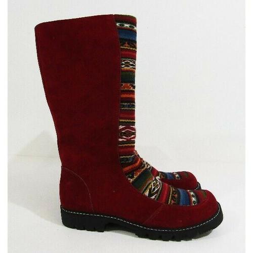 Chaski Native Shoes Multicolor Southwest Women's Zip Up Boots Sz 9 *Thread Pull