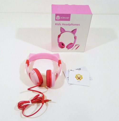 iClever Pink Cat-Inspired Wired On-Ear Headphones for Kids HS01 - OPEN BOX
