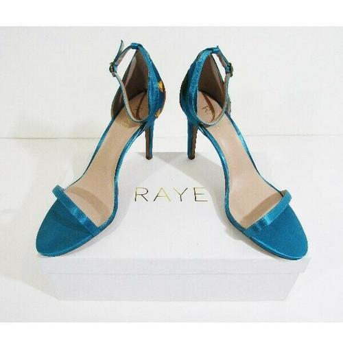 Raye Blue Patterned Open Toe Women's Ankle Strap High Heels IOB Size 8.5