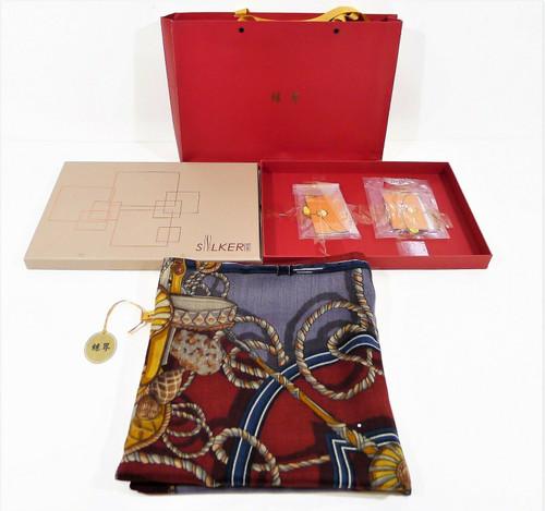 "Shanghai Tianzhong Scarf Manufacturer Silker 50"" x 50"" Scarf Wrap w/ Box - NEW"