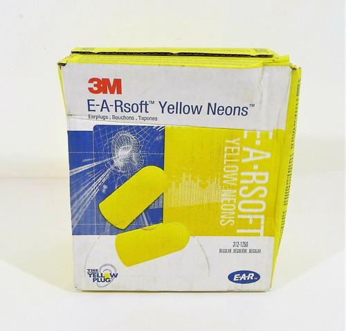 Box of 200 Pairs 3M E-A-Rsoft Yellow Neons Foam Safety Earplugs 312-1250 - NEW