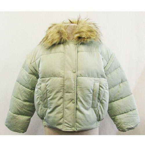 Missguided Green Ultimate Faux Fur Collar Women's Puffer Jacket NWT Size 4