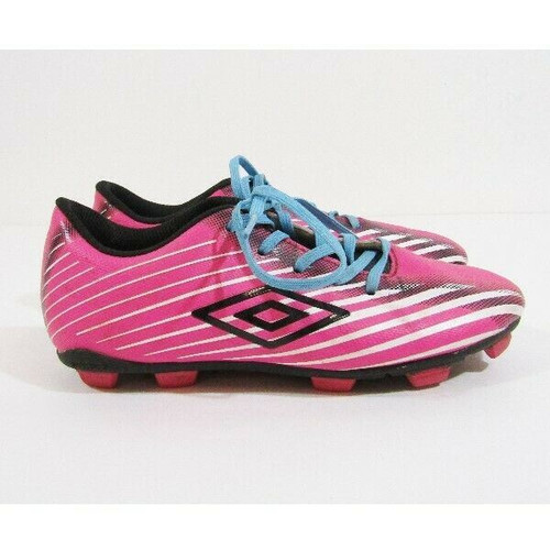 Umbro Arturo 2.0 Pink, White & Blue Girls Soccer Cleats Size 2 Youth