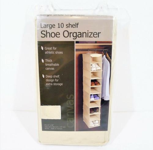 "Richards Natural Canvas Hanging Large 10 Shelf Shoe Organizer 8"" x 14"" x 50"" NEW"
