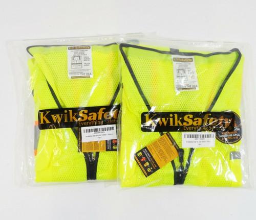 KwikSafety Big Kahuna Safety Vest in Yellow, Size Large, KS3301 - SET OF 2  NEW