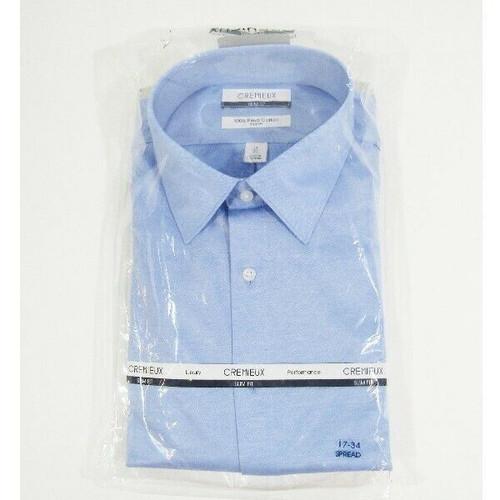 Cremieux Slim Fit Spread Collar Blue Men's Dress Shirt NWT Size 17/34