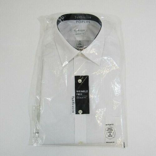Van Heusen Poplin White Regular Fit Wrinkle Free Men's Dress Shirt NWT Size 16