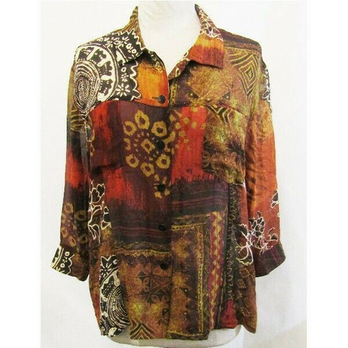 Chico's 100% Silk Orange & Brown Patterned Women's Button Up Blouse Size 3