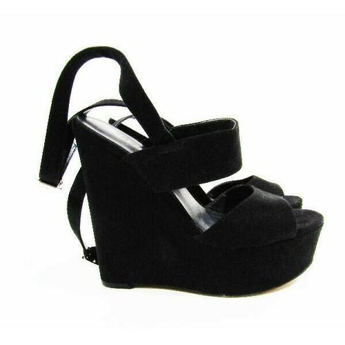 Aldo Black Suede Open Toe Women's Ankle Strap Wedges Size 6