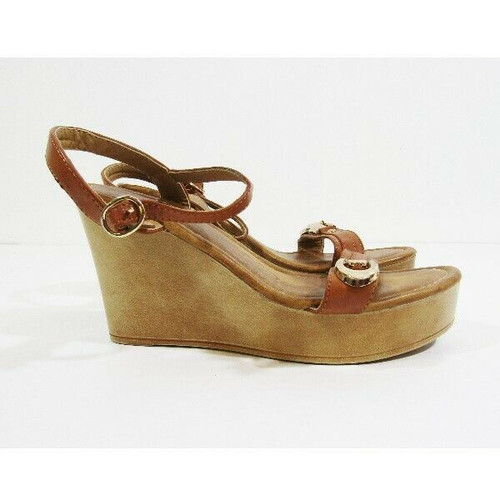 Cathy Din Light Brown Open Toe Women's Strappy Wedges Size 8