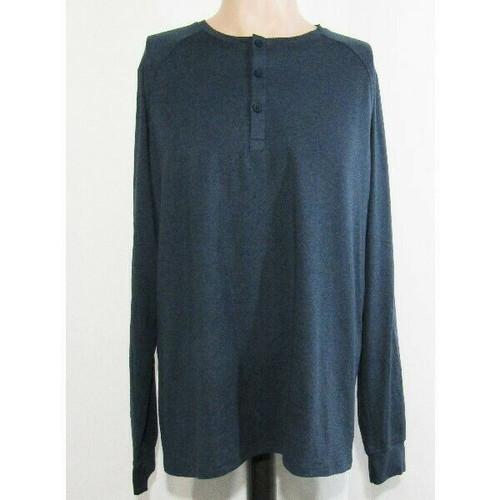01. Algo Blue Performance Long Sleeve Men's Henley T-Shirt NWT Size L