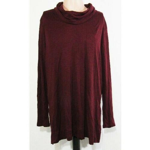 J Jill Burgundy Long Sleeve Pima Cowl Neck Women's Tunic NWT Size XL