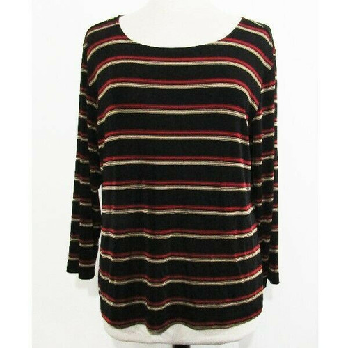 Chico's Travelers Multicolor Striped Women's 3/4 Sleeve Emma Tee NWT Size 3