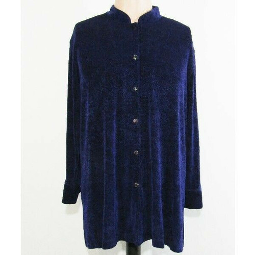 Chico's Design Patterned Purple Long Sleeve Women's Button Up Blouse Size 3