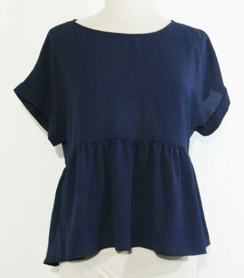 Francesca's Navy Blue Short Sleeve Women's Blouse NWT Size M