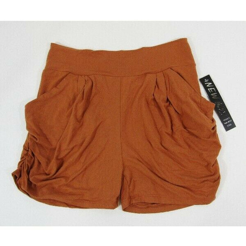 New Mix Orange Lightweight Women's Ruched Shorts w/ Pockets NWT Size L/XL