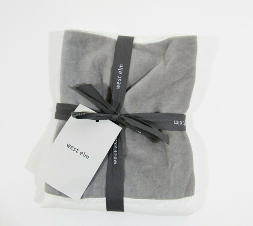 "West Elm Gray & White Standard Pillow Sham New w/o Tags 20"" x 26"""