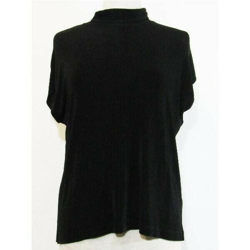 Chico's Black Short Sleeve Women's Turtle Neck Blouse Size 3