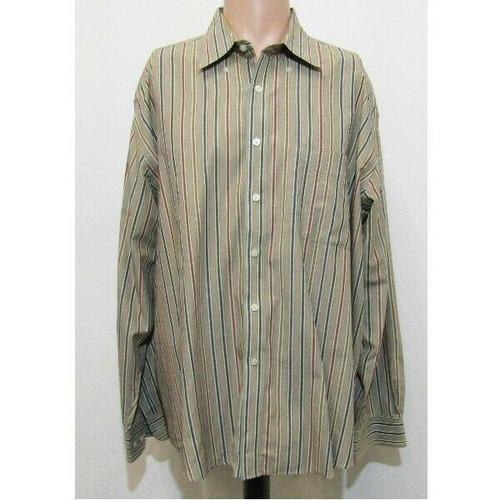 Alan Flusser Multicolor Striped Men's Button Down Dress Shirt Size XL