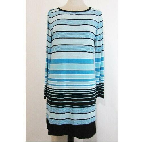 Michael Kors Blue & Black Striped Women's Dress Size L *Unhemmed Near Bottom