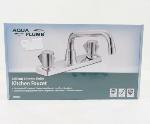 Aqua Plumb 2-Handle Kitchen Faucet in Brilliant Chrome 1812301  NEW
