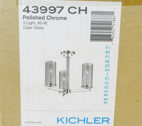 """Kichler Crosby 3 Light 18"""" Wide Chandelier in Polished Chrome 43997CH   NEW"""