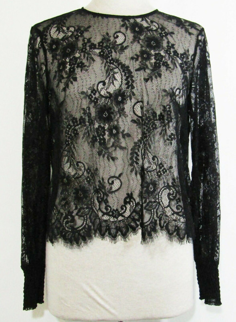Divided by H & M Black Lace Long Sleeve Women's Blouse NWT Size 8