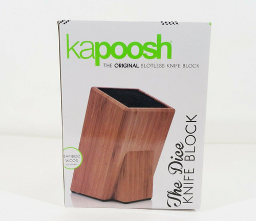 Kapoosh The Dice Bamboo Wood Slotless Knife Block  NEW