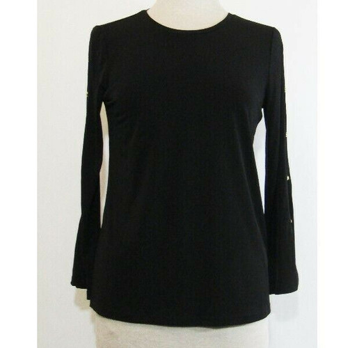 Michael Kors Black Long Sleeve Women's Blouse w/ Gold Accents Size S